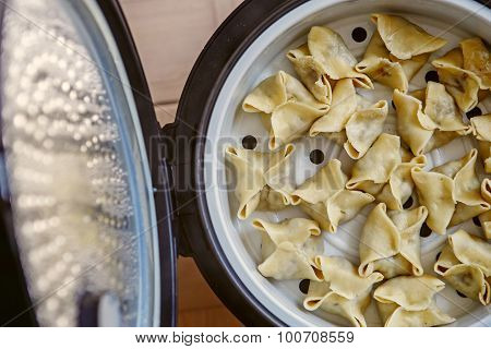 Cooking Pasta, Ravioli, Gedza In A Double Boiler