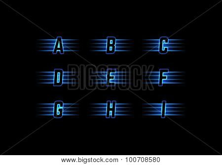 Part of Blue Neon Light Alphabet Font with Stripes