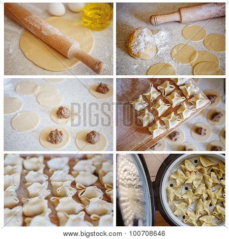 Collage Of Cooking Pasta, Dumplings, Steamed gedza. Cooking Homemade Dumplings.