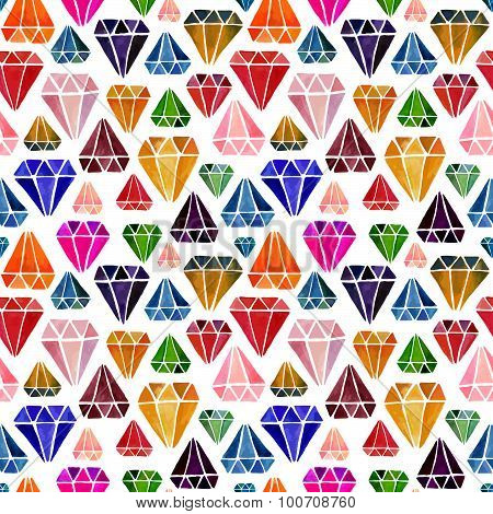 Seamless Pattern with Watercolor Hand Drawn Diamonds