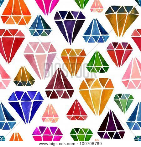 Bright Colorful Seamless Pattern with Watercolor Diamonds