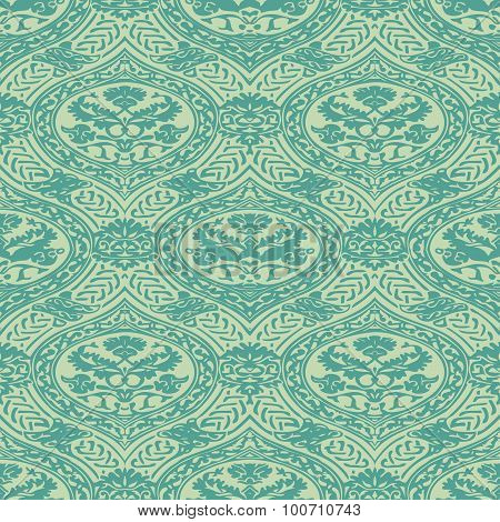 Vector Seamless Floral Antique Pattern With Interlacing Ribbons