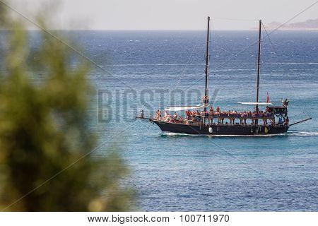 Touristic Sail Boat Near The Beach Of Akyarlar, Bodrum