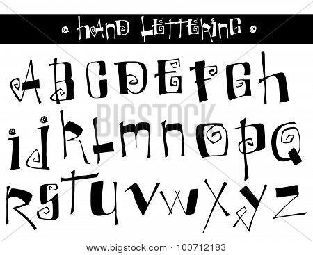 Original hand lettered alphabet in black