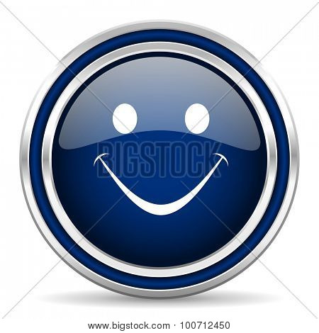 smile blue glossy web icon modern computer design with double metallic silver border on white background with shadow for web and mobile app round internet button for business usage