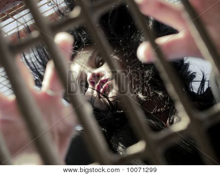 Young Woman In Jail