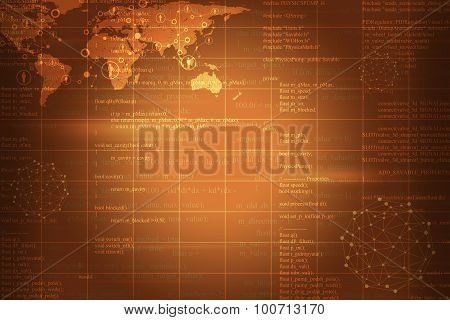 Abstract background with world map and molecule