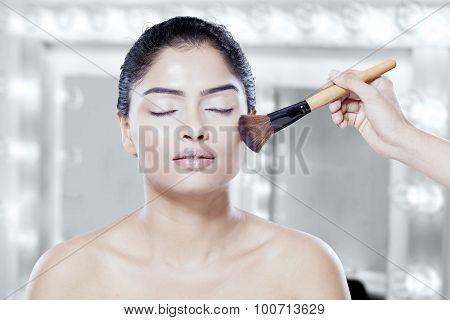 Makeup Artist Hand Apply Makeup On Model