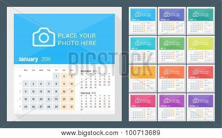 Desk Calendar For 2016 Year. Week Starts Monday. 3 Months On Page. Set Of 12 Months. Vector Design P