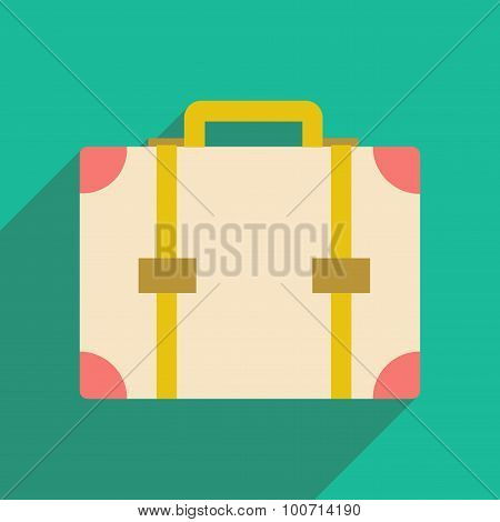 Flat with shadow icon and mobile application suitcase