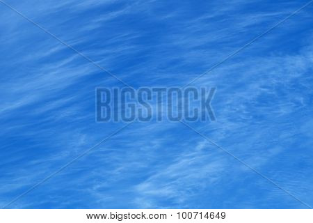 Cirrus Clouds On Blue Sky Background