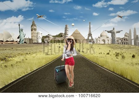 Woman On The Road With Famous Landmarks Background