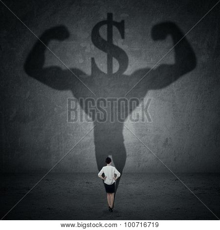 Woman With A Shadow Of Athlete And Dollar Sign