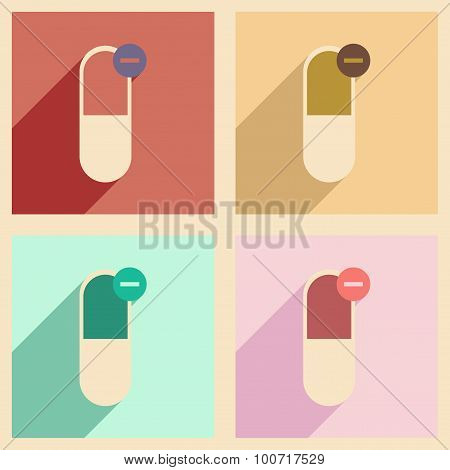 Flat with shadow concept and mobile application pharmaceutical industry
