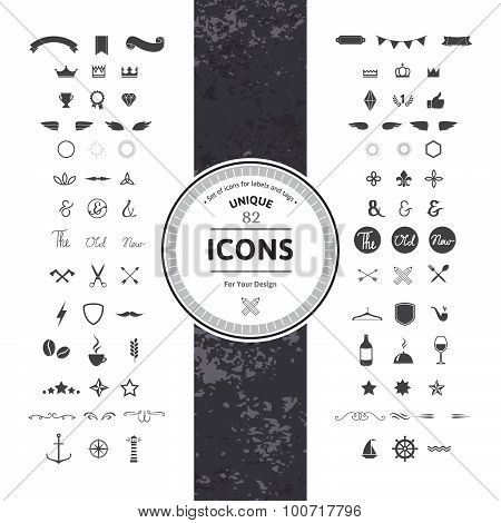 Set of Hipster Icons and Symbols