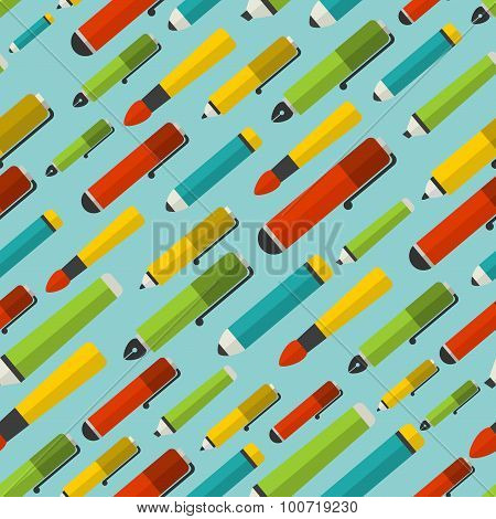 Seamless pattern with writing utensils.