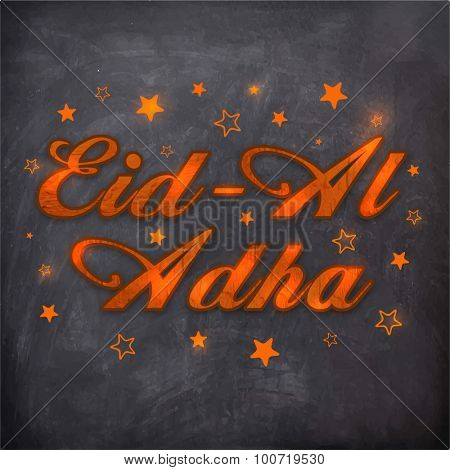 Stylish shiny text Eid-Al-Adha on stars decorated chalkboard background, Elegant greeting card design for Muslim community festival celebration.