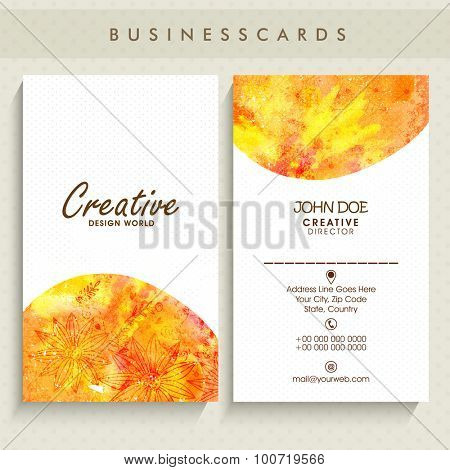 Stylish vertical business card, name card or visiting card set with yellow abstract design.