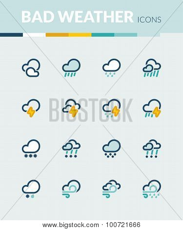 Bad Weather  Colorful Flat Icons