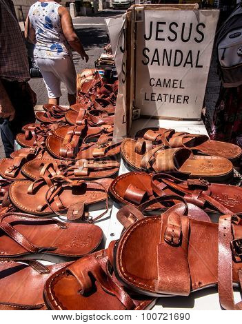 Sandals Made Of Camel Skin, Called Jesus Sandals Exposed For Sale In A Shop On The Road To The Holy