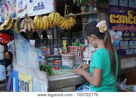 Street Vendor Selling Betel Leaves At Yangon