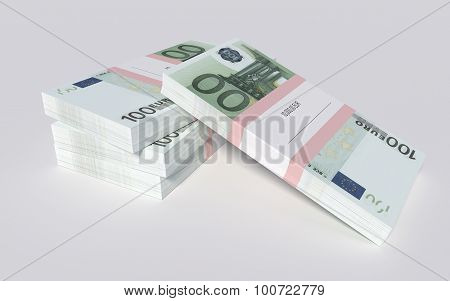 Four packets of 100 Euro bills