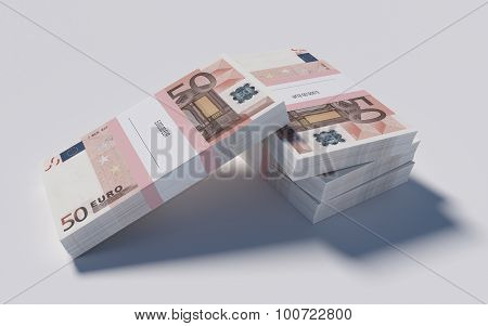 Packets of 50 Euro bills