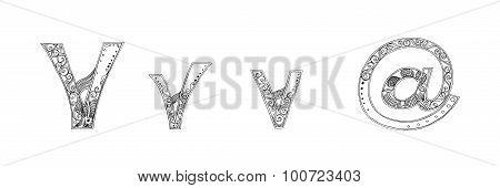 V Adsign Symbol Vanda Freehand Pencil Sketch Font