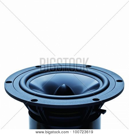 classic woofer speaker on white background