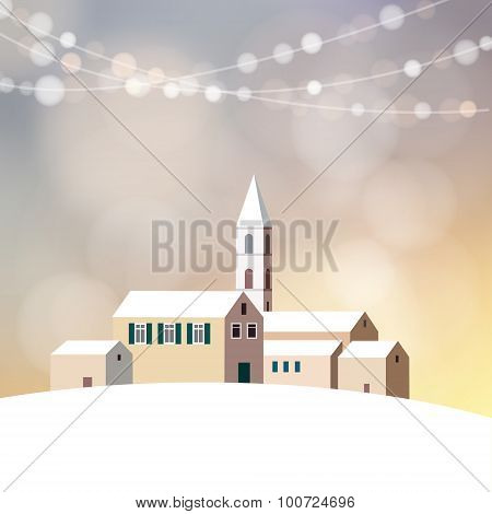 Christmas Greeting Card With Winter Landscape, Church, Little Village