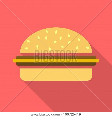 Cheesburger flat icon with long shadow