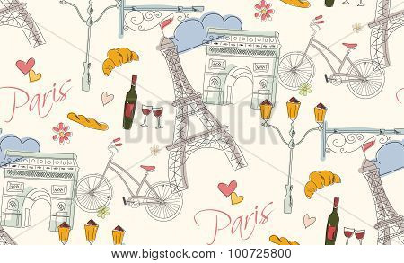 Paris Symbols, Postcard, Seamless Pattern, Hand Drawn