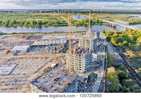 View on construction site in Tyumen and Tura river