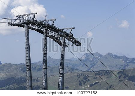 Cableway With Idyllic Summer Mountains Landscape