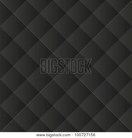 Seamless black padded upholstery vector pattern texture