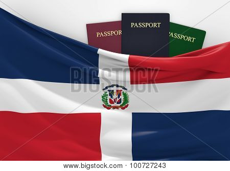 Travel and tourism in the Dominican Republic, with assorted passports