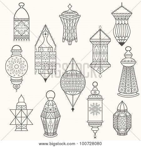 Set of old lamps. Lantern vector dark silhouettes