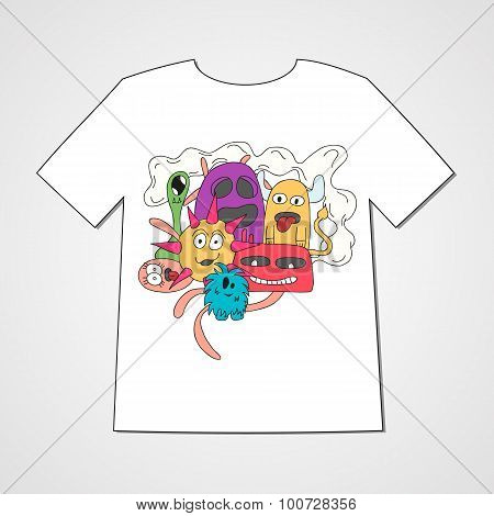 Abstract  hand drawn doodle monsters.