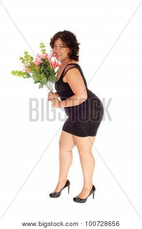Happy Mixed Race Woman With Flowers.