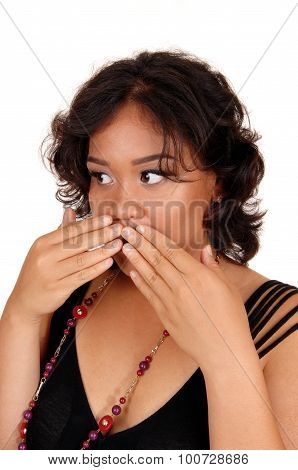 Woman Holding Her Hand On Mouth.