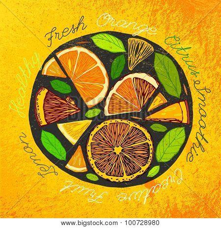 Handdrawn Citrus Orange