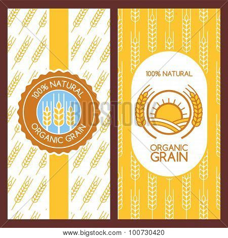 Set Of Vector Backgrounds For Label, Package, Banner. Seamless Pattern With Linear Wheat Ears. Abstr