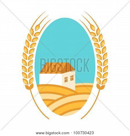 Golden Wheat Fields, Ears, House And Blue Sky. Autumn Landscape Background. Flat Logo Design.