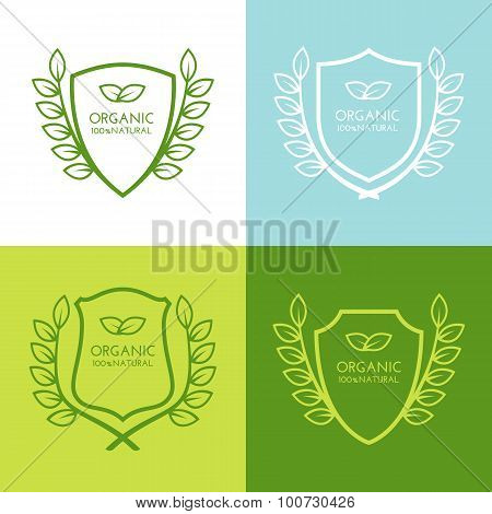 Set Of Vector Simple Linear Logo Icon With Shield And Leaves Wreath. Abstract Decorative Frame Desig