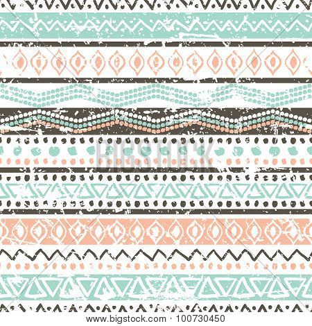 Vector Ethnic Seamless Pattern. Hand Drawn Tribal Striped Ornament. Blue, Brown Grunge Texture.