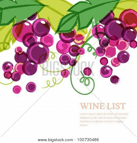 Pink Ripe Grape Vine With Green Leaves. Abstract Vector Watercolor Background With Place For Text.