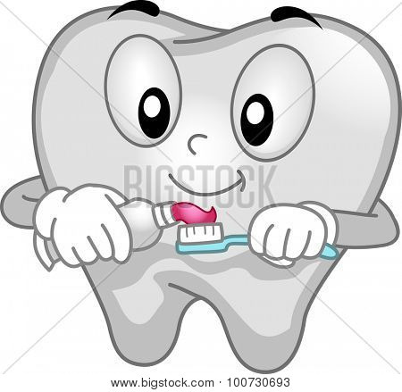 Mascot Illustration of a Tooth Spreading Toothpaste on its Toothbrush