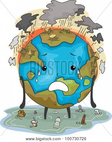 Mascot Illustration Featuring the Earth Suffering from Flooding Air Pollution and Deforestation