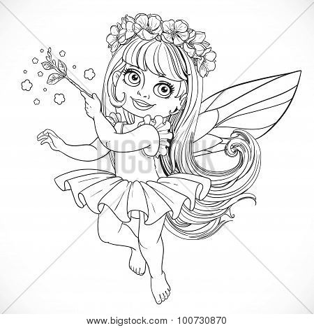 Cute Little Spring Fairy Girl In Tutu With Magic Wand Outline Isolated On A White Background