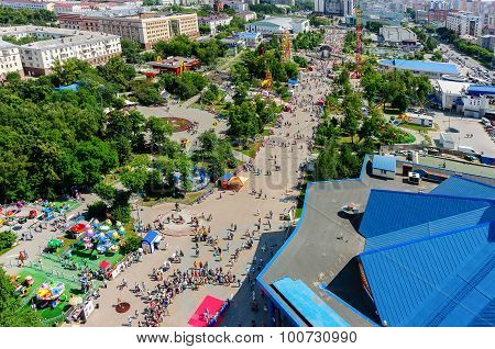 People have good time in Colour Boulevard. Tyumen